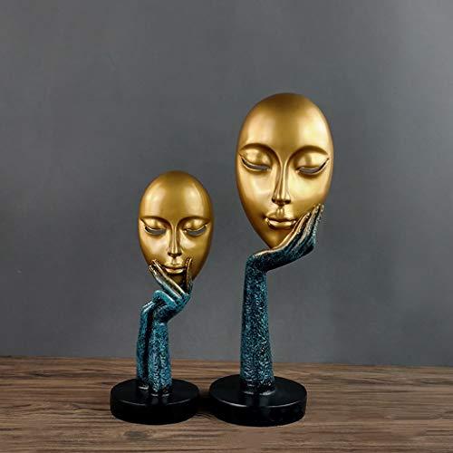 HCGZ Resumen Resina Escultura, Obras de Arte Moderno Retrato máscara Sala Estudio Oficina decoración artesanía artesanía...