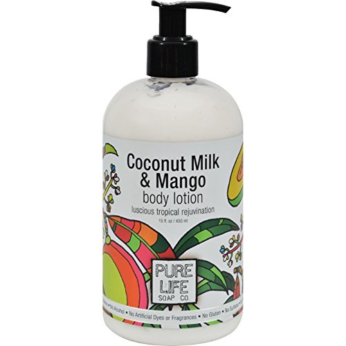 Mango Coconut Body Lotion - Pure Life Soap Co. - Body Lotion Coconut Milk & Mango - 15 oz.
