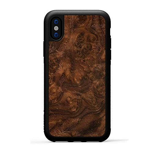 Carved | iPhone X | Luxury Protective Traveler Case | Unique Real Wooden Phone Cover | Rubber Bumper | Walnut Burl