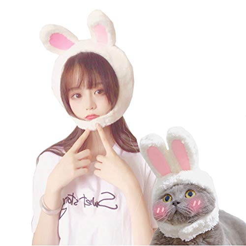 (NACOCO Easter Cute Bunny Ears Plush Headdress Cat White and Pink Rabbit Hat Decoration Girl White Rabbit Cap for Cat Dog&Adult Woman and Man (Adult))