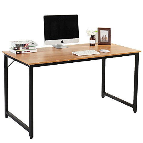 DlandHome Office Computer Desk Table JJT-140, Composite Wood Board, Teak, 55'' Large Size, 1 Pack by DlandHome