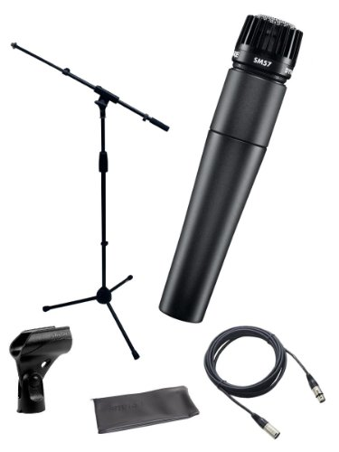 - Shure SM57-LC Instrument/Vocal Cardioid Dynamic Microphone Bundle with Mic Boom Stand, XLR Cable, Mic Clip, and Bag