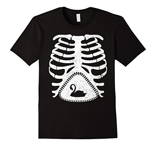 Easy Black Swan Halloween Costume (Mens Skeleton Maternity SWAN Funny T-Shirt XL Black)