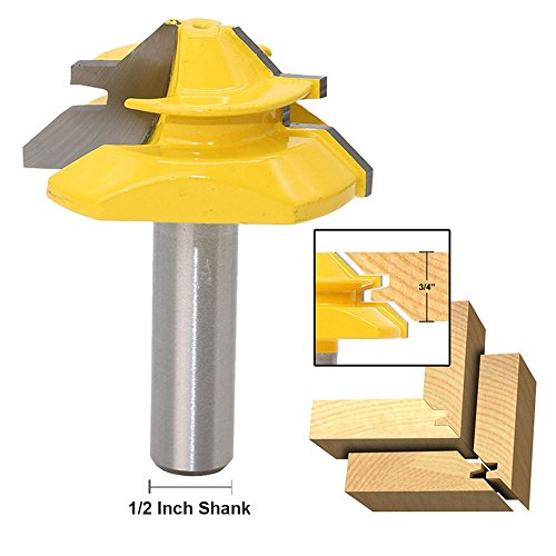 nk Lock Miter Router Bit 45-Degree 3/4 Inch Stock 2 Inch Diameter Woodworking Cutter Tool (Stock Non Ferrous Metals Blades)