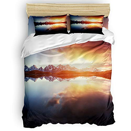 Arts Language Home Duvet Cover Set Full Size for Kids/Adults/Teens Beautiful Sunrise of The Snow-Capped Mountains Soft 4 Pcs Bedding Set with Duvet Cover, Fitted Sheet, -