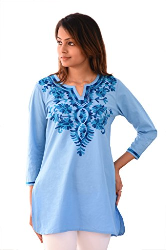 Ayurvastram Embroidered Block Printed or Solid Pure Cotton Tunic, Top, Kurti, Shirt, Blouse – XS: Body Chest 32.5 inches, Dark Blue Emb on Light Blue