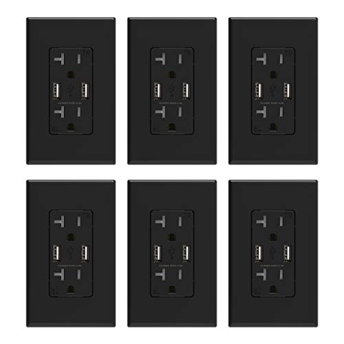 ELEGRP USB Charger Wall Outlet, Dual High Speed 4.0 Amp USB Ports with Smart Chip, 20 Amp Duplex Tamper Resistant Receptacle, Wall Plate Included, UL Listed (6 Pack, Black)