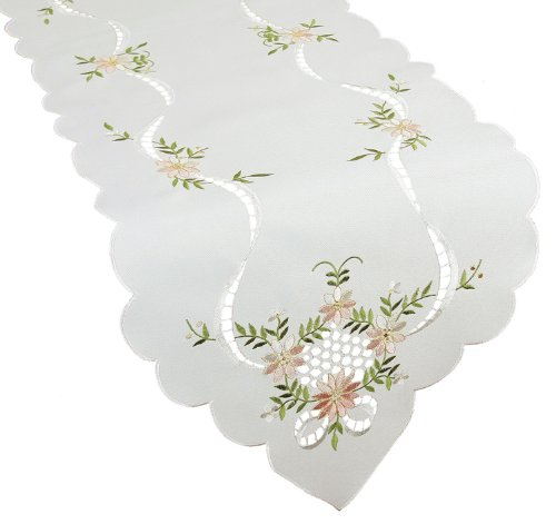 (Xia Home Fashions English Garden Embroidered Cutwork Table Runner Collection, 15 by 54-Inch)