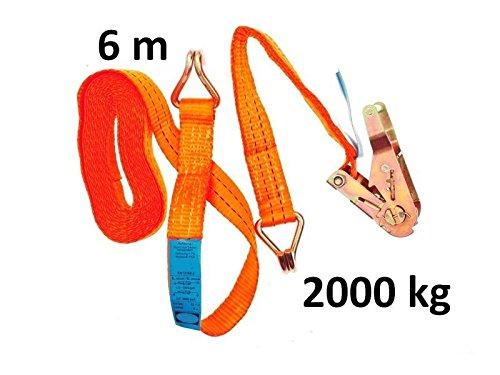 2 tlg Ratschenspanngurt mit Haken 6 m x 35 mm 2000 kg Orange MS Warenvertrieb