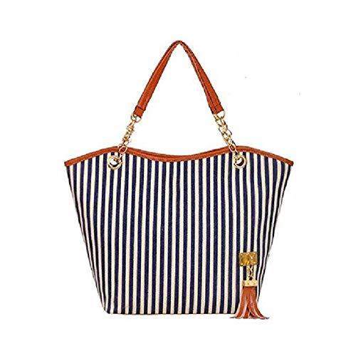Donna Bag Decorazione A1 Da Tracolla Grande Chen Moda Borsa Impermeabile Shopping Signore colore A Strisce Messenger Tela A2 Nappa Spiaggia Portatile pEq4W