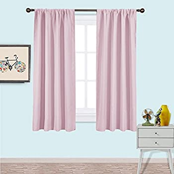 NICETOWN Blackout Curtains For Girls Room   Nursery Essential Thermal  Insulated Solid Rod Pocket Top Blackout