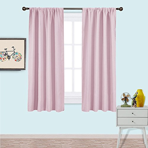 NICETOWN Blackout Curtains for Girls Room - Nursery Essential Thermal Insulated Solid Rod Pocket Top Blackout Draperies / Drapes (1 Pair,42 x 63 Inch, Baby Pink)