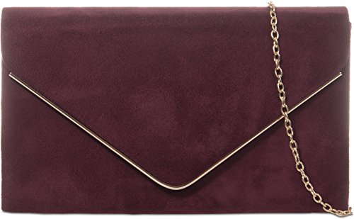 amp;G Clutch H Envelope Ladies Bag Faux Plain Frame Design Burgundy Nude Suede Metallic 6wdxfIqad