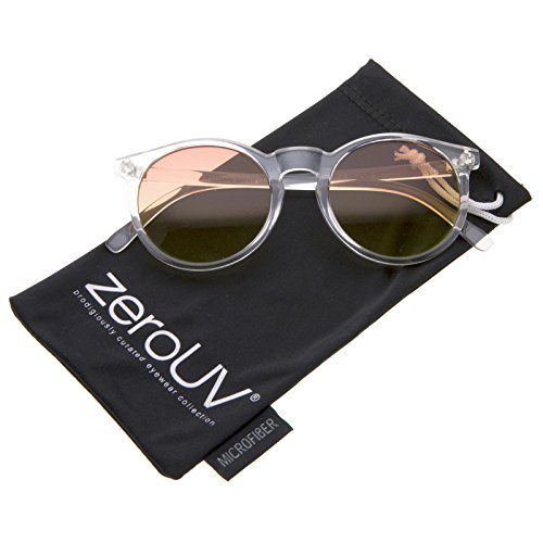 zeroUV - Modern Translucent Frame Gradient Color Lens Round Horn Rimmed Sunglasses 49mm (Clear / - Row Sunglasses The Round