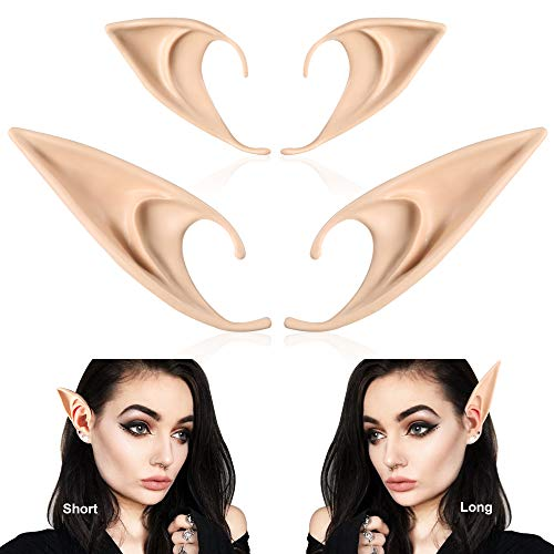 Elf Ears Cosplay Accessories - 2 Pairs Pixie Soft Pointed Ears Fairy Ears Tips -