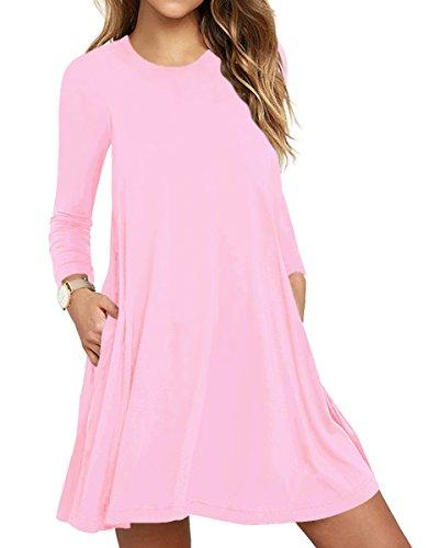 6a3449512 TOPONSKY Women's Plain Long Sleeve Slit Pockets Casual Swing T-shirt Dresses (S, Pink)