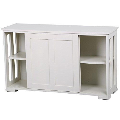 Yaheetech Antique White Buffet Cabinet Kitchen Table with Sliding Door Stackable Sideboard Storage (Large Sideboard)