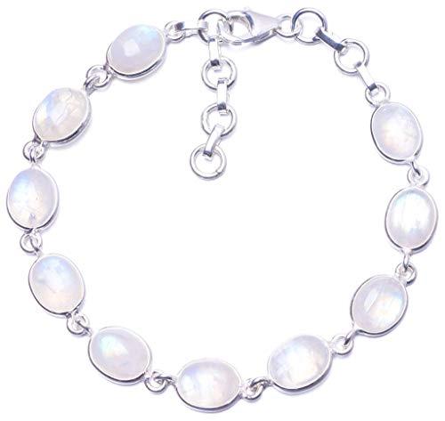 (Natural Rainbow Moonstone 925 Sterling Silver Bracelet 7 1/4-8 1/4