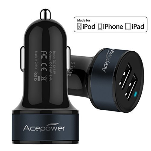 [Certified by Apple - Lifetime Warranty] ACEPower® Dual USB Ports 3.4A/17W Portable USB Car Charger for iPhone 6 6plus 5 5S 5C 4 4S, iPad 4 3 2, iPad mini, iPad air, Battery Power Supply for All Apple Device, Galaxy, Cell Phones, Tablet, Android Devices, Portable Cigarette Lighter Plug, Mobile Travel Charging Station 12V Input (Lightning Cable/Adapter Not Included)- Premium MFI Quality (Black w. Dark Blue Band)