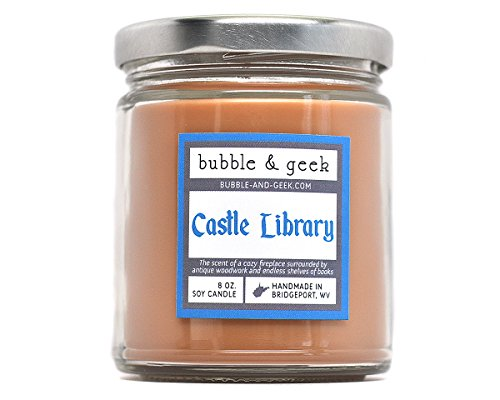 Castle Library Scented Soy Candle – bookish, fireplace, antique woodwork
