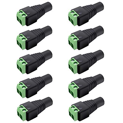 inShareplus 10 Pack 5.5 X 2.1mm Barrel Power 12V DC Power Jake Adapter Connector Plug for CCTV Security Camera LED Strip