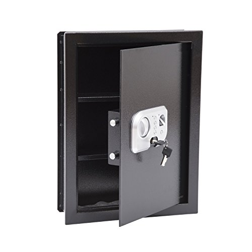 HomCom Flat Recessed Fingerprint Digital Home Security Gun Cash Wall Safe Box