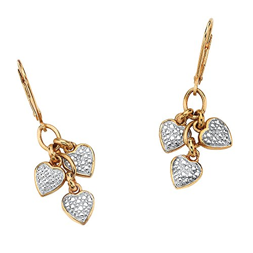 (White Diamond Accent 18k Gold over .925 Sterling Silver Heart Charm Drop Earrings)
