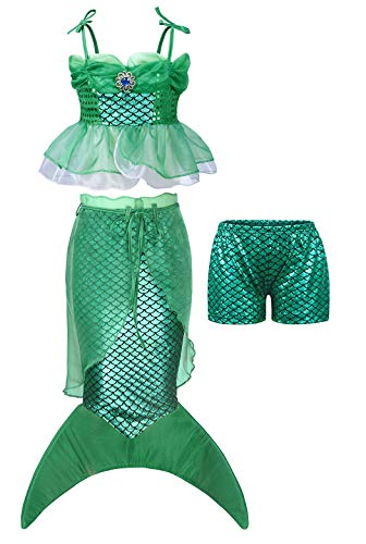 AmzBarley Toddler Little Mermaid Outfits Girls 3 Pieces Ariel Mermaid Tail Halloween Dress up Sets Size 2T -