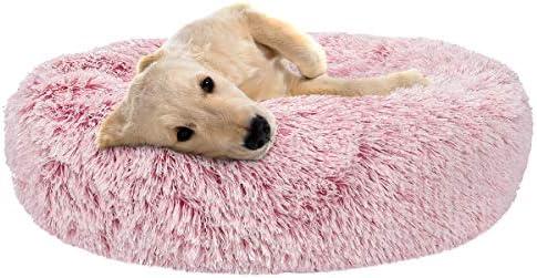 SHU UFANRO Dog Beds for Large Medium Small Dogs Round, Cat Cushion Bed, Pet Beds Cozy Fur Donut Cuddler Improved Sleep, Orthopedic Relief, Washable Multiple Sizes