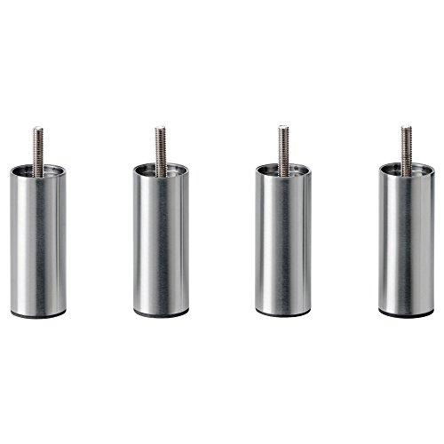 IKEA Bjorli 3 7/8'' Silver Metal Steel Bed Risers - Best Metal Frame Bedroom Bed Leg Risers - Easy To Install - Set of 4 - M8 | 8 MM - Metric Screw End by IKEA