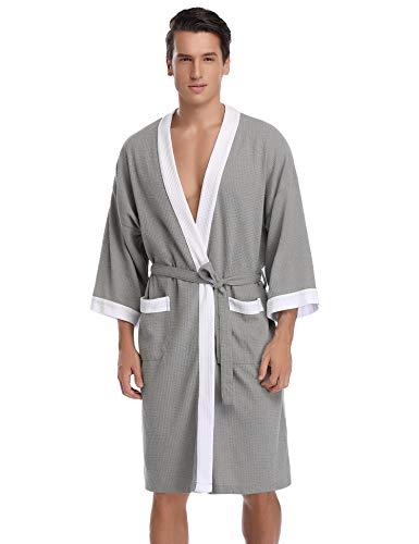 Aibrou Men's Waffle Bathrobe Cotton Lightweight Nightgowns Sleepwear Spa Robe