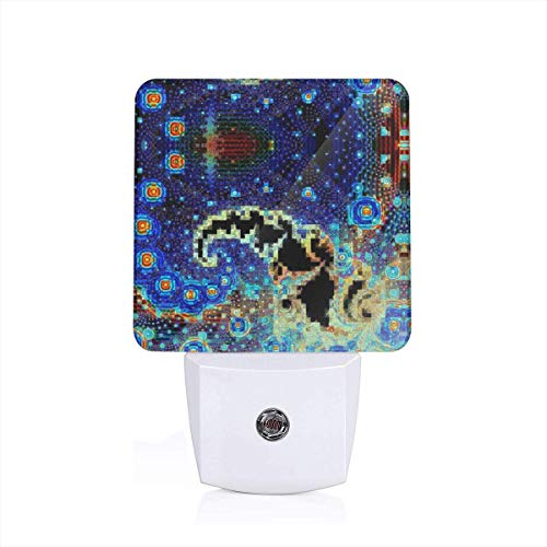 Led Night Light Starry Night in The Paisley Galaxy and Homer Donut System Auto Senor Dusk to Dawn Night Light Plug in for Baby, Kids, Children's Adults Room