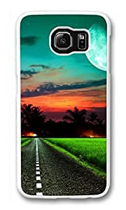 Galaxy S6 Case, S6 Case, Personalized Shock Absorption Bumper Case PC White Protective Cover for New Samsung Galaxy S6 Moonlite Road