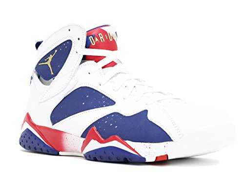 Jordan Air 7 Retro Olympic Tinker Alternate Mens Shoes White/Deep Royal Blue/Fire Red/Metallic Gold Coin 304775-123