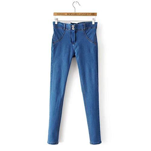 BBesty Women Jeans Denim Female High Waist Pure Color Elastic Force Pencil Long Pants -