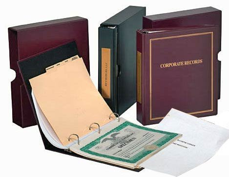 Corporate kit ThriftKit Combo (Corporation): Binder, Slipcase, Stock Certificates, Index Tabs- Black Binder -
