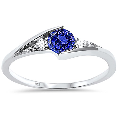 Solitaire Round Sapphire (Oxford Diamond Co Sterling Silver New Round Simulated Blue Sapphire Solitaire Fashion Ring Sizes 3)