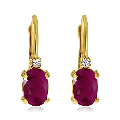 14k Yellow Gold Oval Ruby and Diamond Leverback Earrings ()