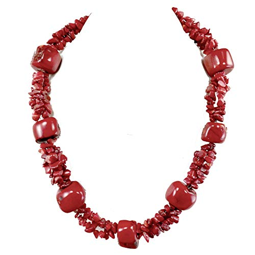 - Red Coral Nugget Large Chip Large Toggle Necklace 19