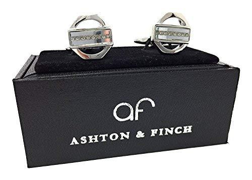 Ashton and Finch Argent Cristal Blanc Boutons de Manchette