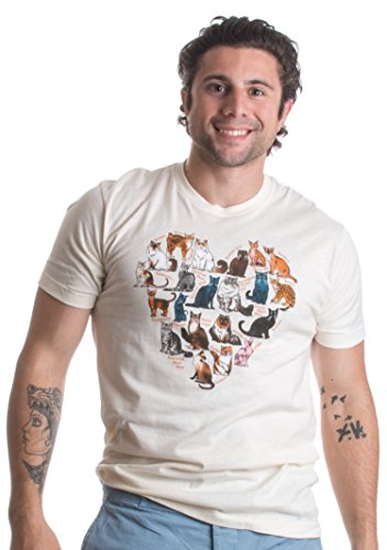 Arsty Heart made of Cat Breeds | Cat Lover Art, Cat Illustration Unisex T-shirt 41Lty6D9OFL