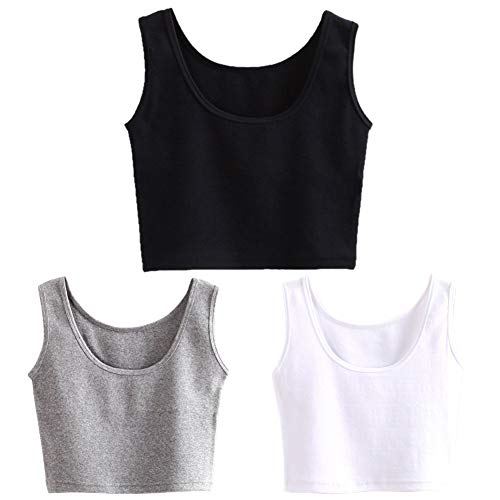 - HZH Women's Short Yoga Dance Athletic Tank Tops Shirts Pack of 3(S,Black White Grey)