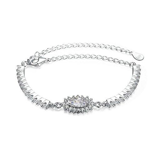 925 Sterling Silver Bracelet, Women's Charm Bracelet Inlaid Zircon Silver - Sterling Neoprene Silver Clasp Necklaces