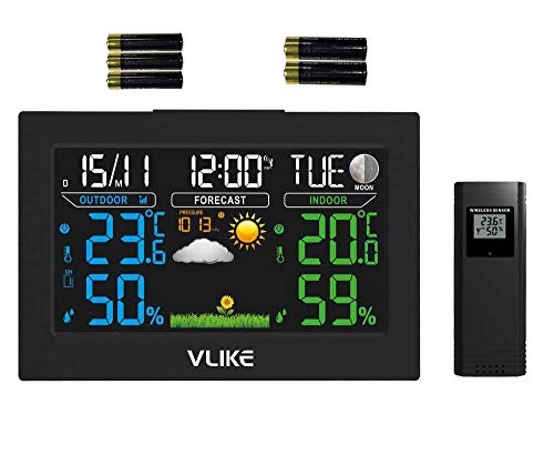 VLIKE VL8270A Wireless Weather Station Indoor Outdoor Color Forecast Station with Sensor Home Alarm Clock with Temperature Alerts