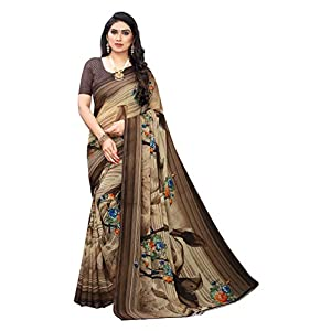 Anni Designer Women's Brown Color Chiffon Printed Saree With Blouse (INDU BROWN_Free Size)