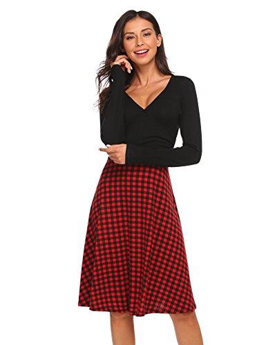 V Neck Striped Dress (Black) - 8