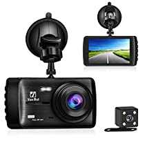 Dash Cam Front Rear Dashboard Camera Recorder Car DVR 1080P HD Night Vision, Wide-Angle Car Video Recorder 4.0 LCD inch Display Video G-Sensor Loop Recording