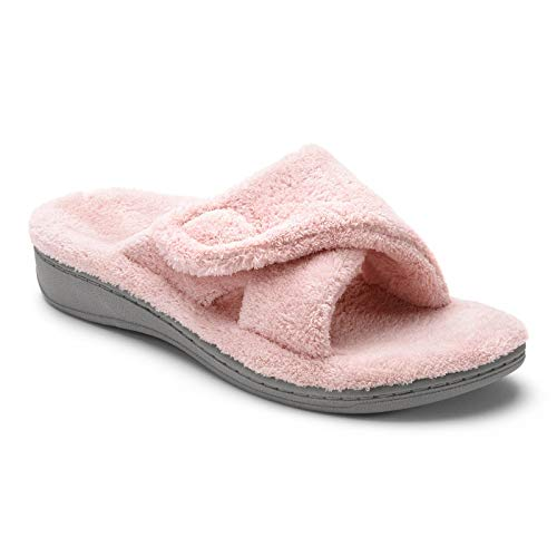 Crossover Velcro - Vionic Women's Indulge Relax Slipper - Ladies Adjustable Slippers with Concealed Orthotic Arch Support Pink 7M