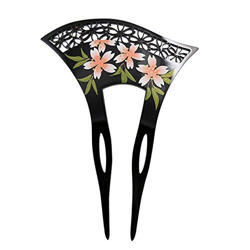 Acrylic 2-Prong Geisha Floral Mesh Hair Stick Fork Pink Flowers