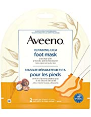 Aveeno Repairing CICA Foot Mask with Prebiotic Oat and Shea Butter, Dry Skin Moisturizer, 2 Sinlge Use Slippers (1 pair)
